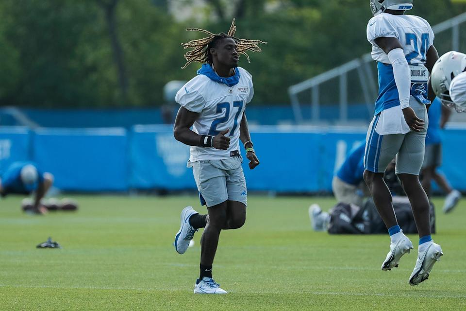Detroit Lions cornerback Alex Brown (27) warms up during training camp at the team's practice facility in Allen Park, Friday, Aug. 6, 2021.