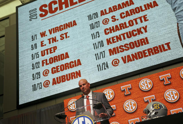 Tennessee NCAA college football head coach Jeremy Pruitt speaks during Southeastern Conference Media Days Wednesday, July 18, 2018, in Atlanta. (AP)