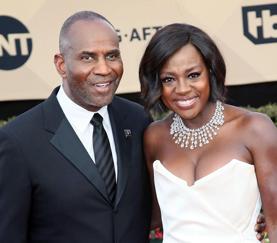 """<p><strong>Age gap: </strong>13 years </p><p>Viola Davis, 54, wed her husband Julius Tennon, 65, in 2003, mere months after the actress <a href=""""https://pagesix.com/2013/02/13/viola-davis-answered-prayer-a-husband/"""" rel=""""nofollow noopener"""" target=""""_blank"""" data-ylk=""""slk:prayed for love"""" class=""""link rapid-noclick-resp"""">prayed for love</a> in her life. The couple has been married for 16 years and share an adopted daughter, Genesis. </p>"""