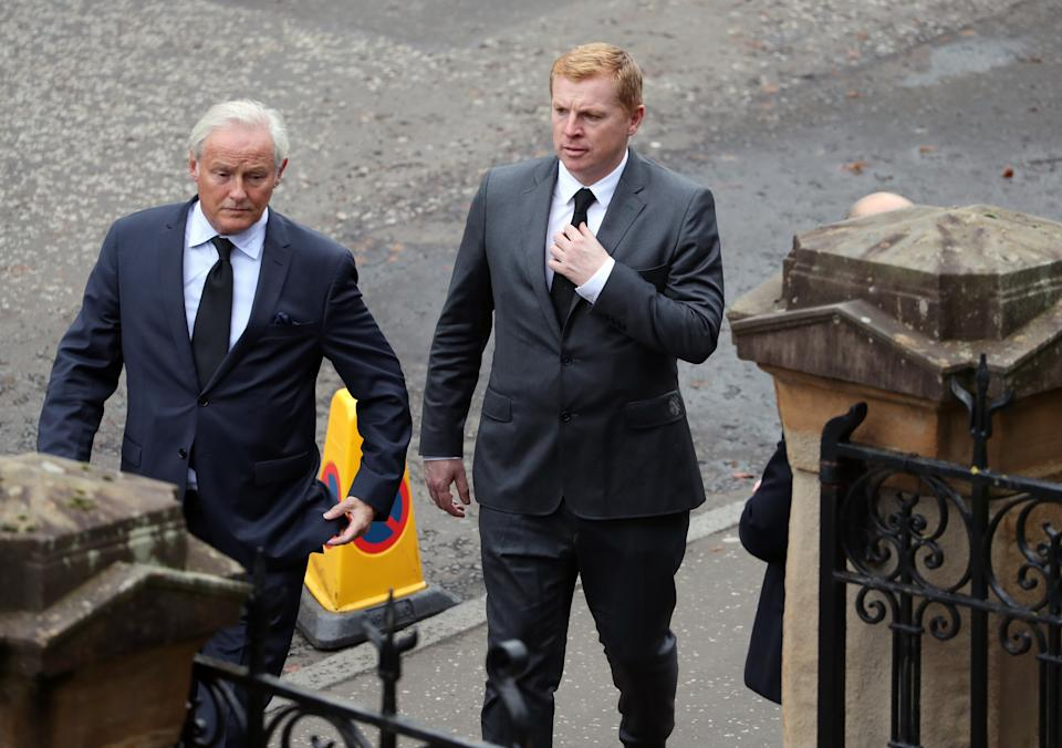 Celtic manager Neil Lennon attends the funeral at Wellington Church, Glasgow. (Photo by Andrew Milligan/PA Images via Getty Images)