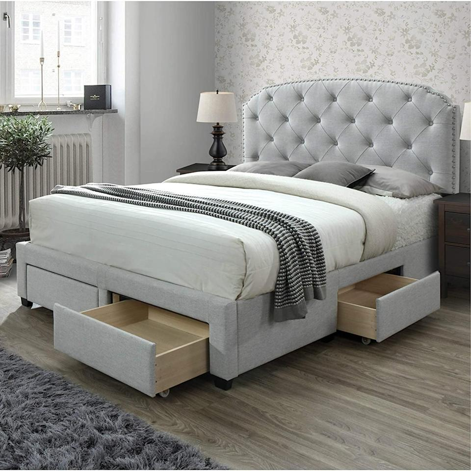 <p>Upgrade your bedroom with this <span>DG Casa Argo Tufted Upholstered Panel Storage Bed</span> ($400).</p>