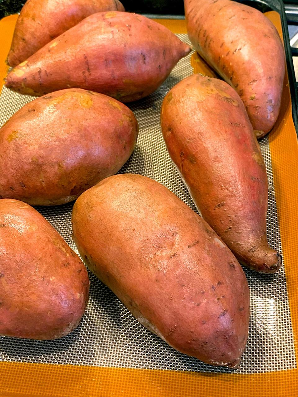<p>With benefits to my energy levels, digestion, decreased sugar cravings and looking leaner, and the fact that sweet potatoes are absolutely delicious, yes, I'm definitely going to continue eating sweet potatoes regularly. </p> <p>I like to roast a big batch twice a week so I have some for me and some for family dinners. I wash the potatoes, leave them whole (I don't even poke holes in them!), and bake them at 400 degrees for about an hour, or until they are soft when I squeeze them. </p> <p>I'll take three glass containers and add one cooked and cooled sweet potato to each of them with about a pound of frozen veggies. So with hardly any effort at all, three simple and satiating lunches are meal-prepped!</p>