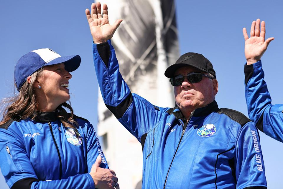 <p>William Shatner celebrates his successful journey into space near Van Horn, Texas on Oct. 13.</p>