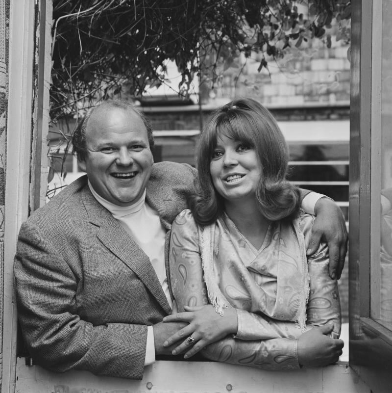 English actors Roy Kinnear (1934 - 1988) and Carmel Cryan, UK, 2nd August 1969. (Photo by Norman Potter/Daily Express/Hulton Archive/Getty Images)