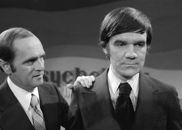 <p>Jack Riley, best known for his role as Elliot Carlin on The Bob Newhart Show, died at 80 on August `9. — (Pictured) In 'The Bob Newhart Show' episode, 'The Last TV Show', in 1973, (at left) Bob Newhart (as Bob Hartley) and Jack Riley (as Elliot Carlin). (CBS via Getty Images) </p>