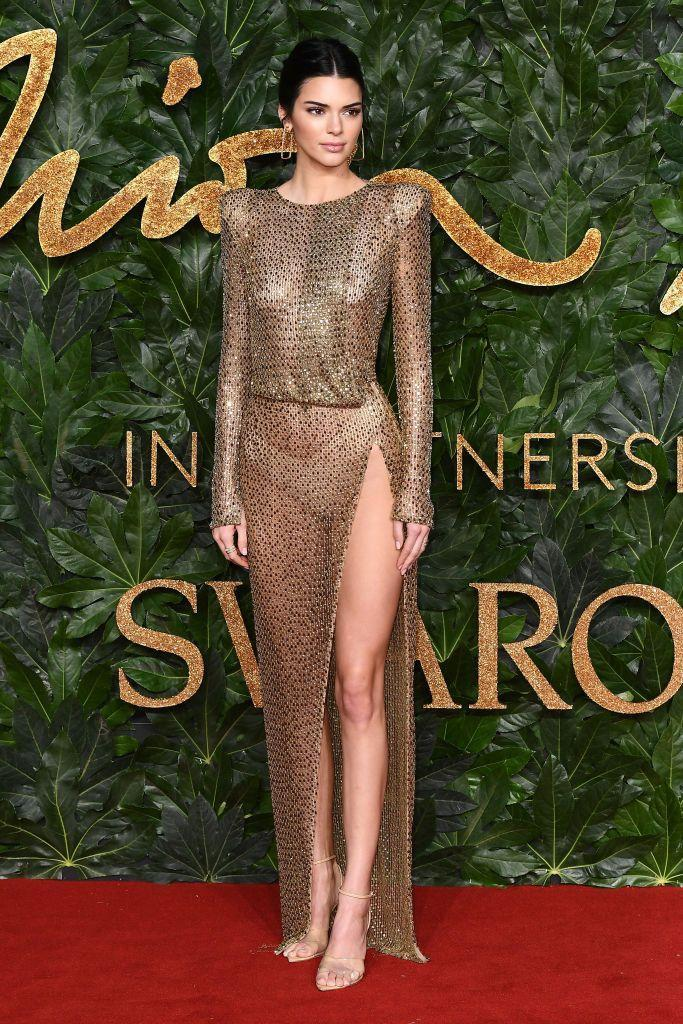 <p>The model wore Julien Macdonald to the awards how in London, December 2018.</p>