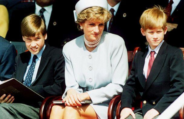 PHOTO: Princess Diana, Princess of Wales with her sons Prince William and Prince Harry attend the Heads of State VE Remembrance Service in Hyde Park, May 7, 1995 in London, England. (Anwar Hussein/Getty Images, FILE)