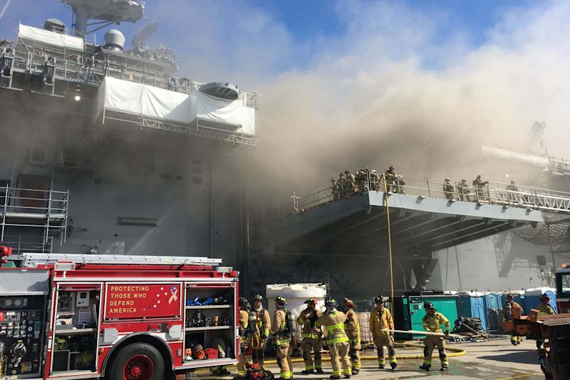 A fire was called away aboard the ship while it was moored at Naval Base San Diego (U.S. Navy via Getty Images)