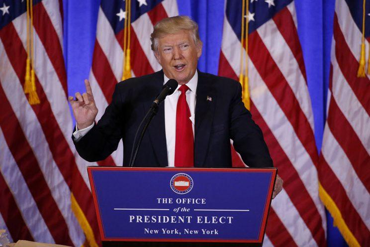 U.S. President-elect Donald Trump speaks during a news conference in the lobby of Trump Tower in Manhattan, New York City, Jan. 11, 2017. (Photo: Lucas Jackson/Reuters)