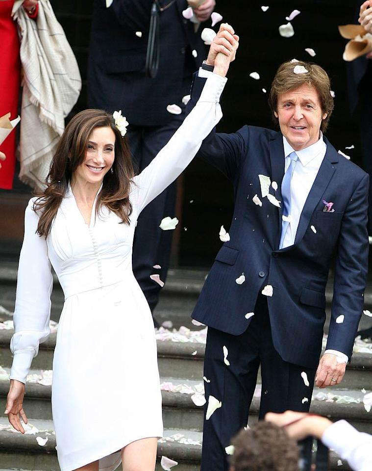 """Introducing, Mr. and Mrs. McCartney! """"Beatles"""" legend Paul McCartney tied the knot for the third time over the weekend, this time to American transportation executive Nancy Shevell. The couple was introduced by Nancy's second cousin -- Barbara Walters!   Gotcha Images/Splash News - October 9, 2011"""