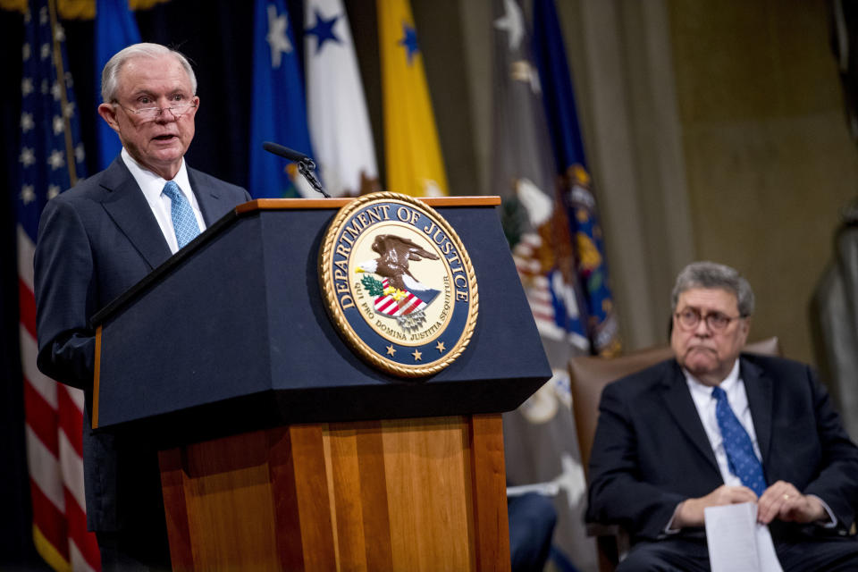 FILE - In this May 9, 2019 file photo, former Attorney General Jeff Sessions, accompanied by Attorney General William Barr, right, speaks during a farewell ceremony for Deputy Attorney General Rod Rosenstein in the Great Hall at the Department of Justice in Washington. Senate Democratic leaders are demanding that former Attorneys General Bill Barr and Jeff Sessions testify about the secret seizure of data from House Democrats in 2018. (AP Photo/Andrew Harnik)
