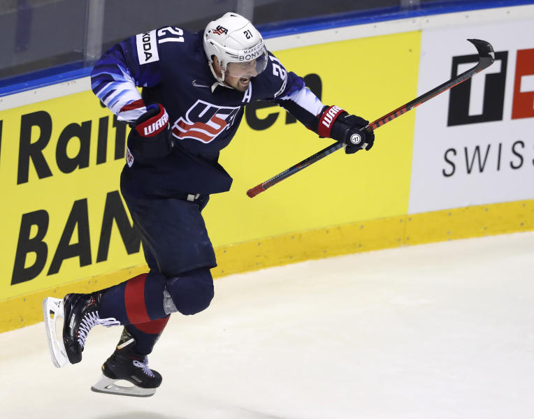 Dylan Larkin of the US celebrates after scoring his sides second goal during the Ice Hockey World Championships group A match between Germany and the United States at the Steel Arena in Kosice, Slovakia, Sunday, May 19, 2019. (AP Photo/Petr David Josek)