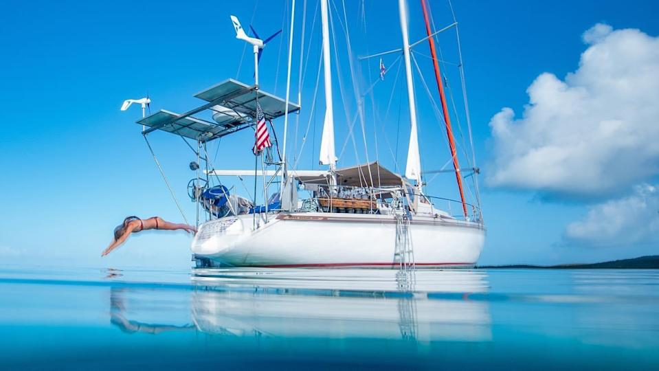 The sailboat, anchored. (Photo courtesy SV Delos)