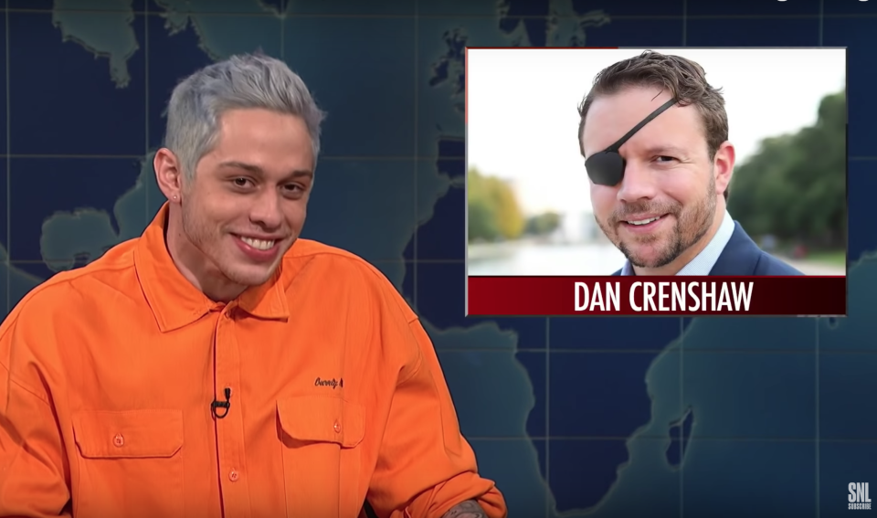 Pete Davidson mocked congressional candidate Dan Crenshaw for wearing an eye patch. (Photo: YouTube/Saturday Night Live)
