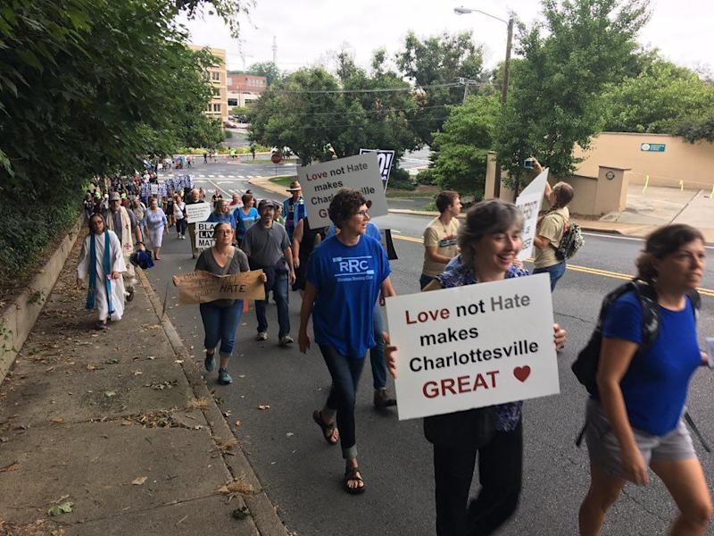 "Counter-protesters arrive at the ""Unite the Right"" rally."