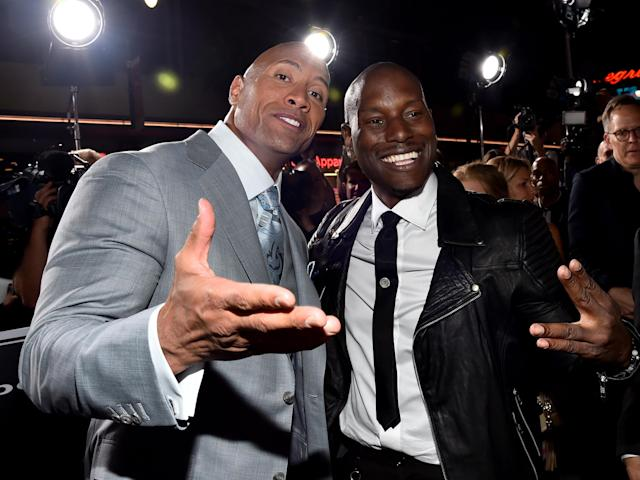 The Rock and Tyrese Gibson look chummy at the <i>Furious 7</i> premiere at TCL Chinese Theatre in Hollywood on April 1, 2015. (Photo: Getty Images)