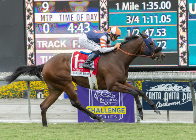 In a photo provided by Benoit Photo, Little Red Feather Racing's Mirth and jockey Mike Smith win the Grade I, $300,000 Rodeo Drive Stakes, Saturday, Sept. 28, 2019 at Santa Anita Park in Arcadia, Calif. (Benoit Photo via AP)
