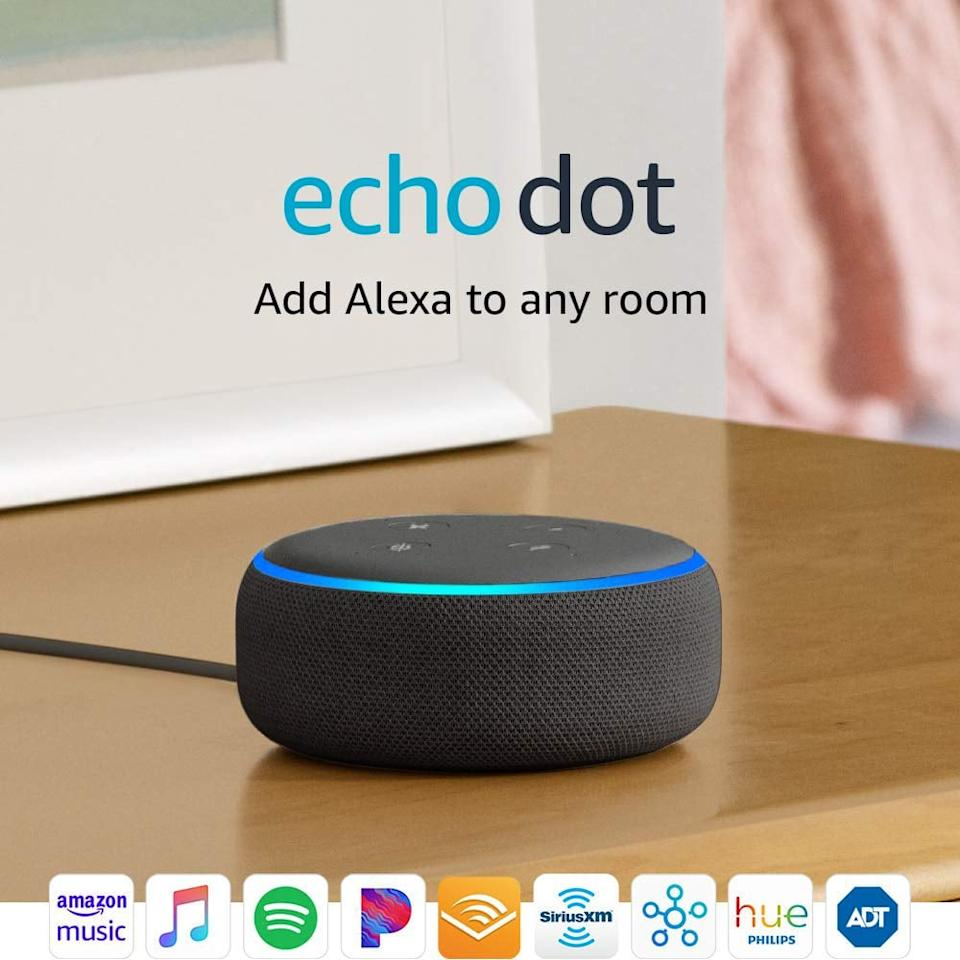 """<p>An <a href=""""https://www.popsugar.com/buy/Amazon-Echo-Dot-489934?p_name=Amazon%20Echo%20Dot&retailer=amazon.com&pid=489934&price=30&evar1=tres%3Aus&evar9=21503586&evar98=https%3A%2F%2Fwww.popsugar.com%2Flove%2Fphoto-gallery%2F21503586%2Fimage%2F36483114%2FAlexa-Keep-Him-Company&list1=dating%2Cshopping%2Choliday%2Cgift%20guide%2Crelationships%2Clong%20distance%20relationships%2Cvalentines%20day%2Cgifts%20for%20men%2Cgifts%20under%20%2475&prop13=mobile&pdata=1"""" rel=""""nofollow"""" data-shoppable-link=""""1"""" target=""""_blank"""" class=""""ga-track"""" data-ga-category=""""Related"""" data-ga-label=""""https://www.amazon.com/Echo-Dot/dp/B07FZ8S74R"""" data-ga-action=""""In-Line Links"""">Amazon Echo Dot</a> ($30, originally $50) makes the perfect assistant and friend while you're apart. Alexa can send calls and texts hands-free, remind him about your upcoming visits, play your shared Spotify playlists, and more.</p>"""