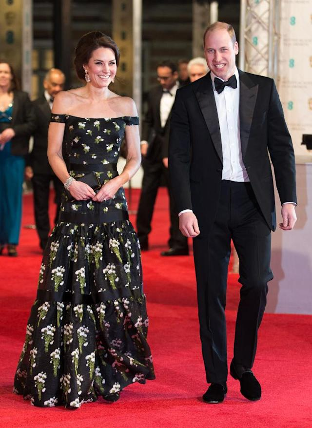 For last year's star-studded ceremony, the Duchess of Cambridge opted for a cold-shoulder gown by Sarah Burton's Alexander McQueen. (Photo: Getty)
