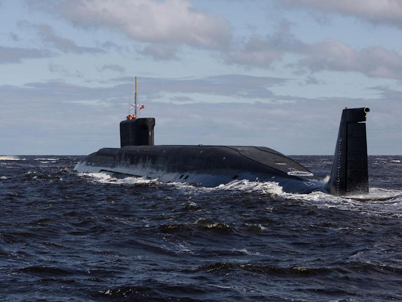Russian nuclear submarine, Yuri Dolgoruky, is seen during sea trials near Arkhangelsk, Russia: AP