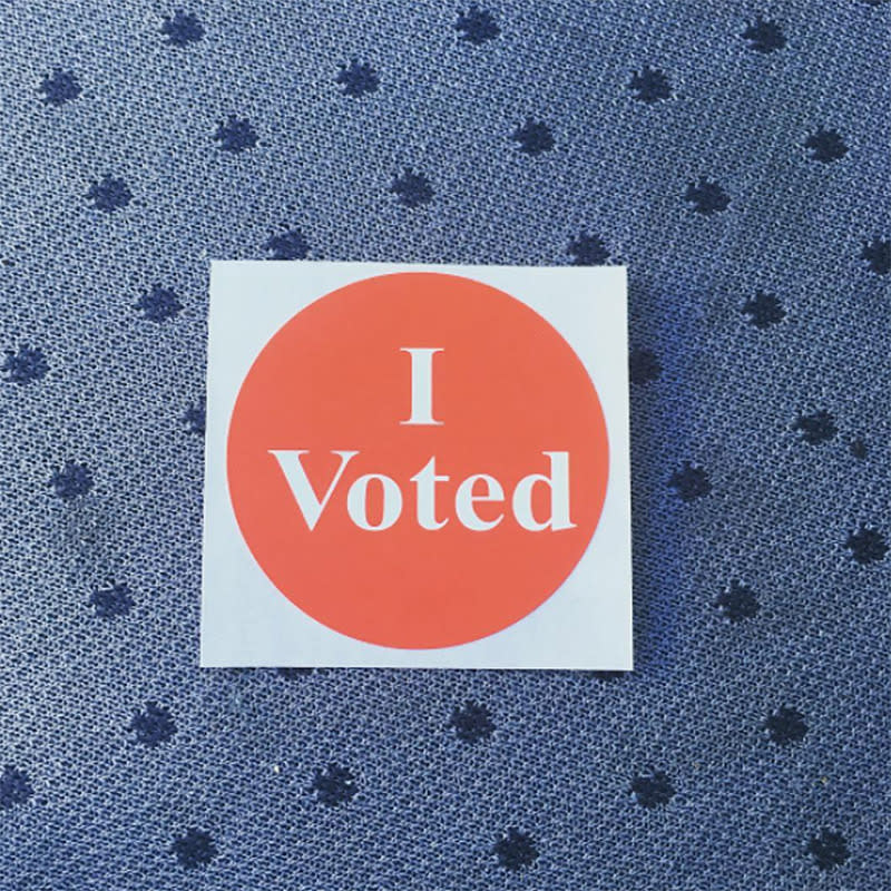 """<p>The sparse and iconic Minnesota sticker design is codified in law: """"The secretary of state, county auditor, municipal clerk, or school district clerk may provide stickers which contain the words 'I VOTED,' and nothing more."""" (Photo: Instagram/thefilmhore) </p>"""