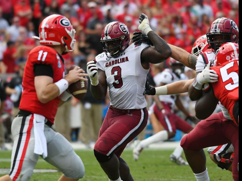 South Carolina DT Javon Kinlaw (3) dominated again last week against Georgia. (Getty Images)