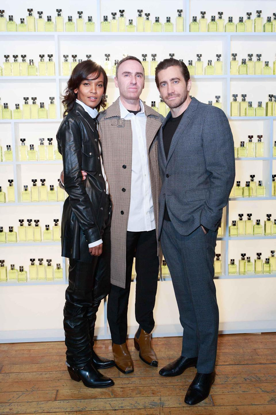 Model and philanthropist Liya Kebede, Calvin Klein chief creative officer Raf Simons, and Nine Stories production co-founder and actor Jake Gyllenhaal at the Calvin Klein Eternity fragrance launch event in New York. (Photo: Courtesy of Coty)