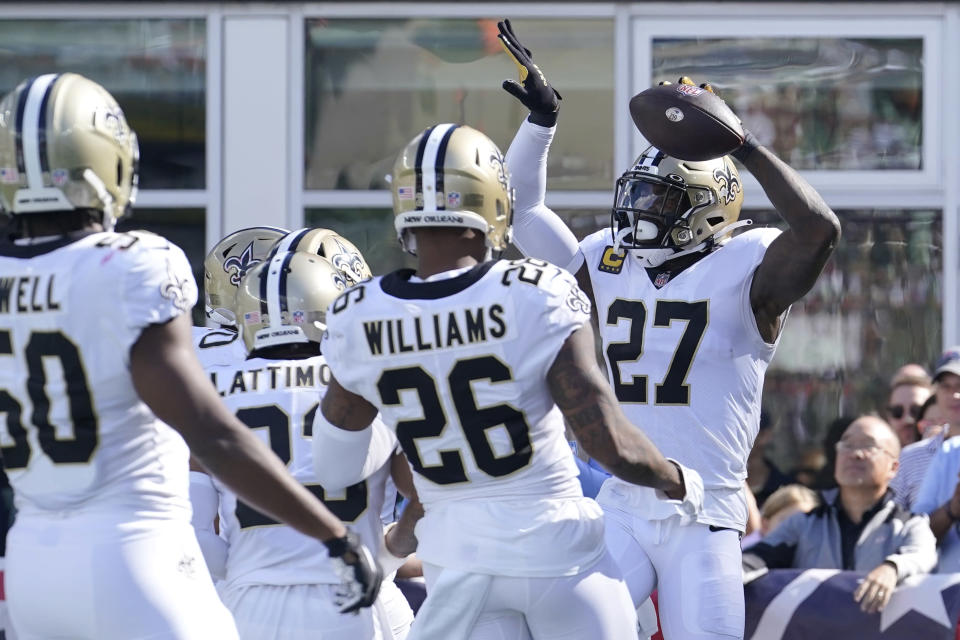 New Orleans Saints strong safety Malcolm Jenkins (27) celebrates after his touchdown against the New England Patriots during the second half of an NFL football game, Sunday, Sept. 26, 2021, in Foxborough, Mass. (AP Photo/Steven Senne)