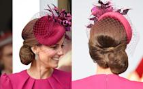 "<p>When you've got a hat as beautiful as the one Middleton wore to <a href=""https://www.popsugar.com/celebrity/Kate-Middleton-Prince-William-Eugenie-Wedding-45352486"" class=""link rapid-noclick-resp"" rel=""nofollow noopener"" target=""_blank"" data-ylk=""slk:Princess Eugenie's wedding"">Princess Eugenie's wedding</a> in October 2018 (designed by the royal's favorite milliner Philip Treacy), a simple low side bun is the ideal choice. </p>"