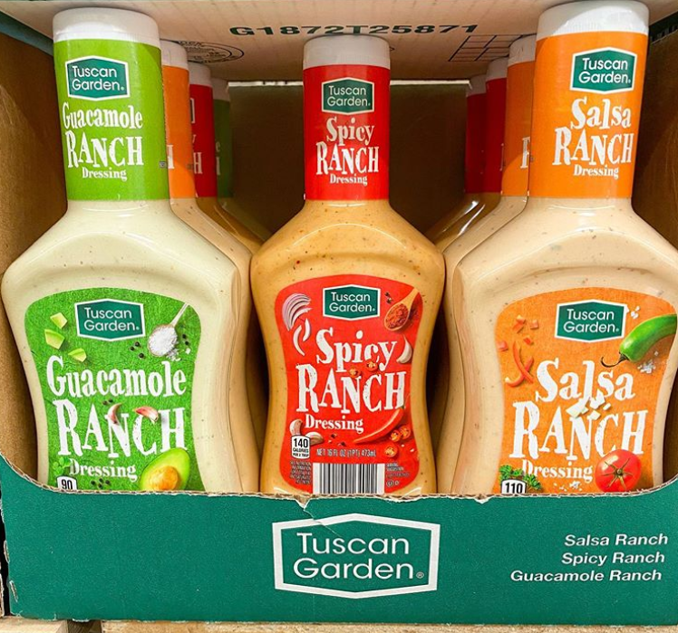 "<p>Ranch dressing has its own cult to begin with, with <a href=""https://www.instagram.com/aldi.guru/"" rel=""nofollow noopener"" target=""_blank"" data-ylk=""slk:enthusiasts"" class=""link rapid-noclick-resp"">enthusiasts</a> finding new things to dip in or cover with the stuff every day. What did Aldi say to what we already might have thought was a perfect thing? ""Hold my ranch."" Tuscan Garden offers the creamy, tangy dressing in gotta-have flavors like Guacamole, Spicy, and Salsa, any of which will make even the most tried-and-true meal a little more exciting.</p>"