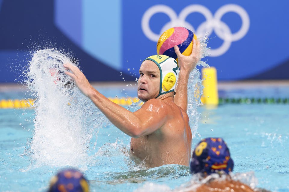 <p>Richard Campbell of Team Australia on attack during the Men's Preliminary Round Group B match between Australia and Spain on day eight of the Tokyo 2020 Olympic Games at Tatsumi Water Polo Centre on July 31, 2021 in Tokyo, Japan. (Photo by Leon Neal/Getty Images)</p>