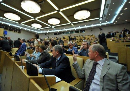 Russia's State Duma deputies speak in May 2012