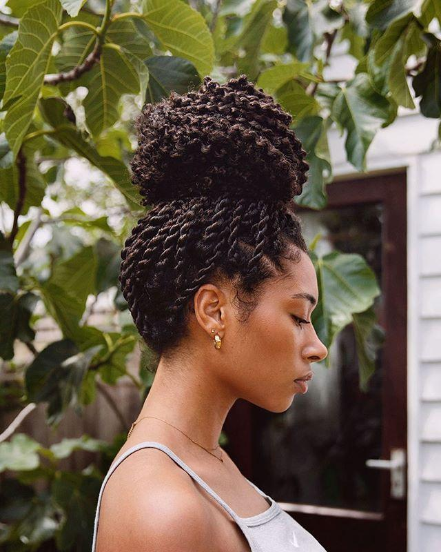"<p>Switch up your look and <strong>throw your Senegalese twists into a high top bun—</strong>don't forget to secure the style with <a href=""https://www.amazon.com/Conair-Bobby-Pins-Brown-Pack/dp/B0051E339K/ref=sr_1_5?linkCode=ogi&tag=cosmopolitan_auto-append-20&ascsubtag=[artid