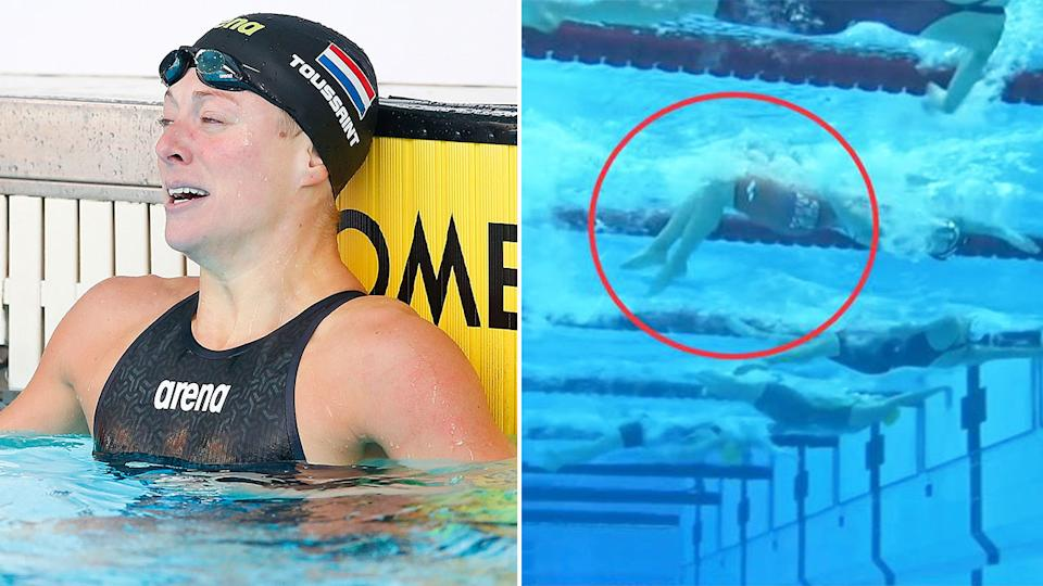 Dutch swimmer Kira Toussaint was accused of doing an illegal kick underwater in her semi-final. Pic: Getty/Ch7