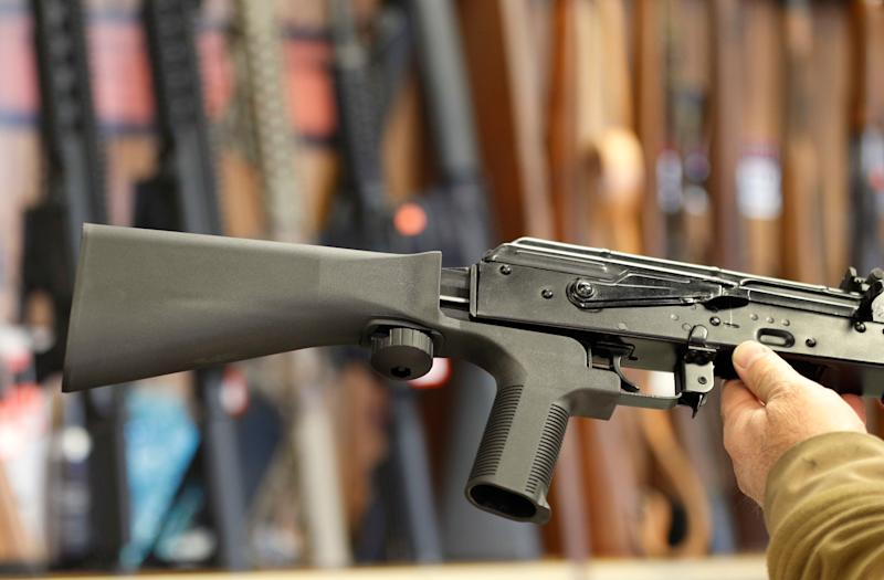 A bump stock device (left) fits on a semi-automatic rifle to increase the firing speed, making it similar to a fully automatic rifle.