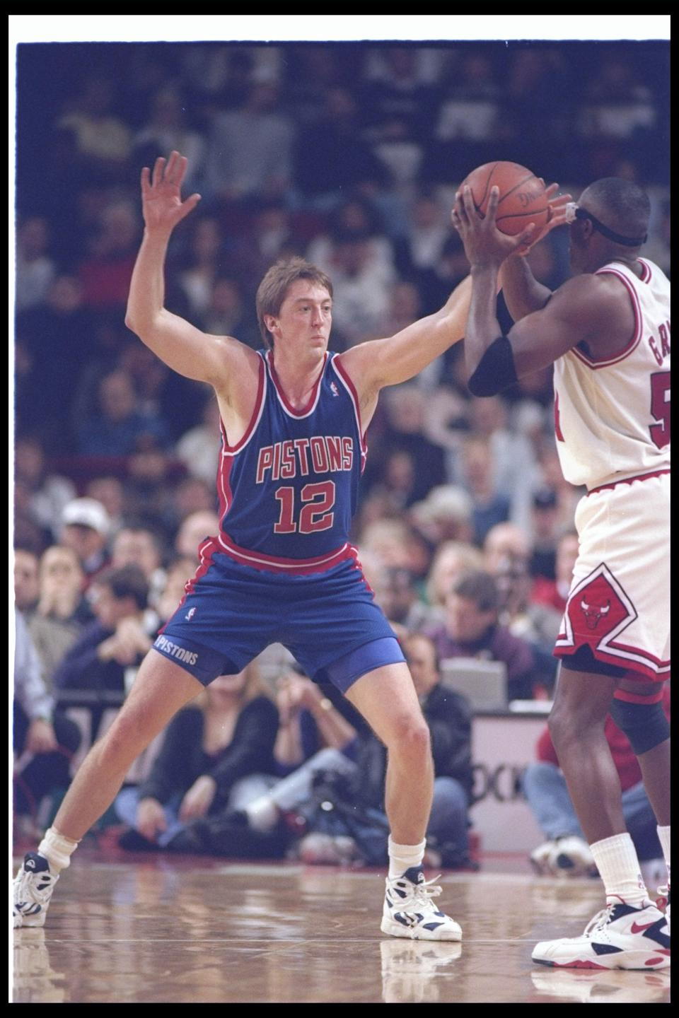 4 Jan 1994:  Forward David Wood of the Detroit Pistons plays defense during a game against the Chicago Bulls at The Palace in Auburn Hills, Michigan.  The Bulls won the game, 97-91. Mandatory Credit: Jonathan Daniel  /Allsport Mandatory Credit: Jonathan D