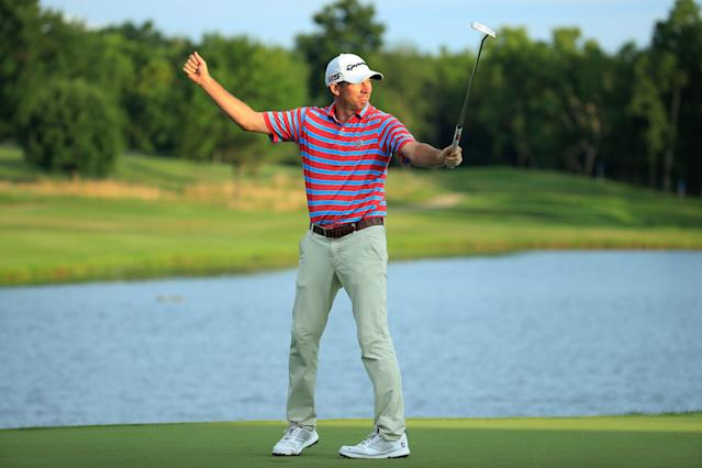 "<div class=""caption""> Jim Herman celebrates on the 18th green after winning the 2019 Barbasol Championship. </div> <cite class=""credit"">Andy Lyons/Getty Images</cite>"