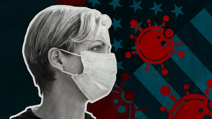 Graphic showing an American woman wearing a facemask