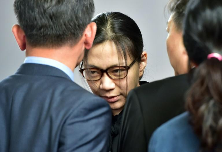 Former Korean Air executive Cho Hyun-Ah (C), pictured in 2015, is battling her brother for control of the family airline