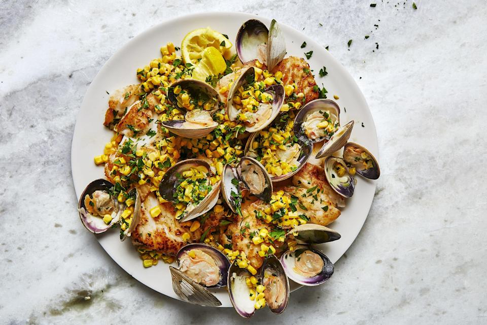 "You don't need <a href=""https://www.epicurious.com/recipes/food/views/spaghetti-alle-vongole-365197?mbid=synd_yahoo_rss"" rel=""nofollow noopener"" target=""_blank"" data-ylk=""slk:pasta"" class=""link rapid-noclick-resp"">pasta</a> to enjoy clam sauce. Here it mingles with fresh corn to top delicate pan-seared cod fillets. <a href=""https://www.epicurious.com/recipes/food/views/skillet-cod-clams-and-corn-with-parsley?mbid=synd_yahoo_rss"" rel=""nofollow noopener"" target=""_blank"" data-ylk=""slk:See recipe."" class=""link rapid-noclick-resp"">See recipe.</a>"