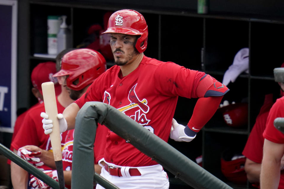 St. Louis Cardinals' Nolan Arenado prepares to bat during the first inning of a spring training baseball game against the Washington Nationals Sunday, Feb. 28, 2021, in Jupiter, Fla. (AP Photo/Jeff Roberson)