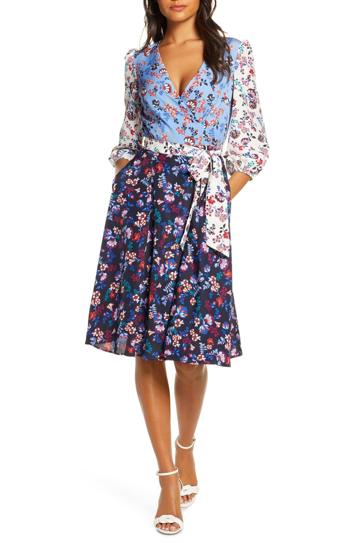 This washer-friendly dress is designed with roomy three-quarter sleeves and elastic cuffs for a comfortable fit. (Photo: Nordstrom)