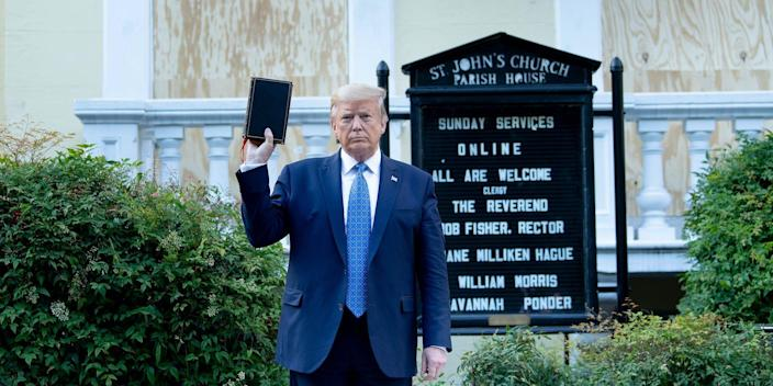 Then-President Donald Trump holds a Bible while visiting St. John's Church across from the White House after the area was cleared of people protesting the death of George Floyd on June 1, 2020, in Washington, DC.