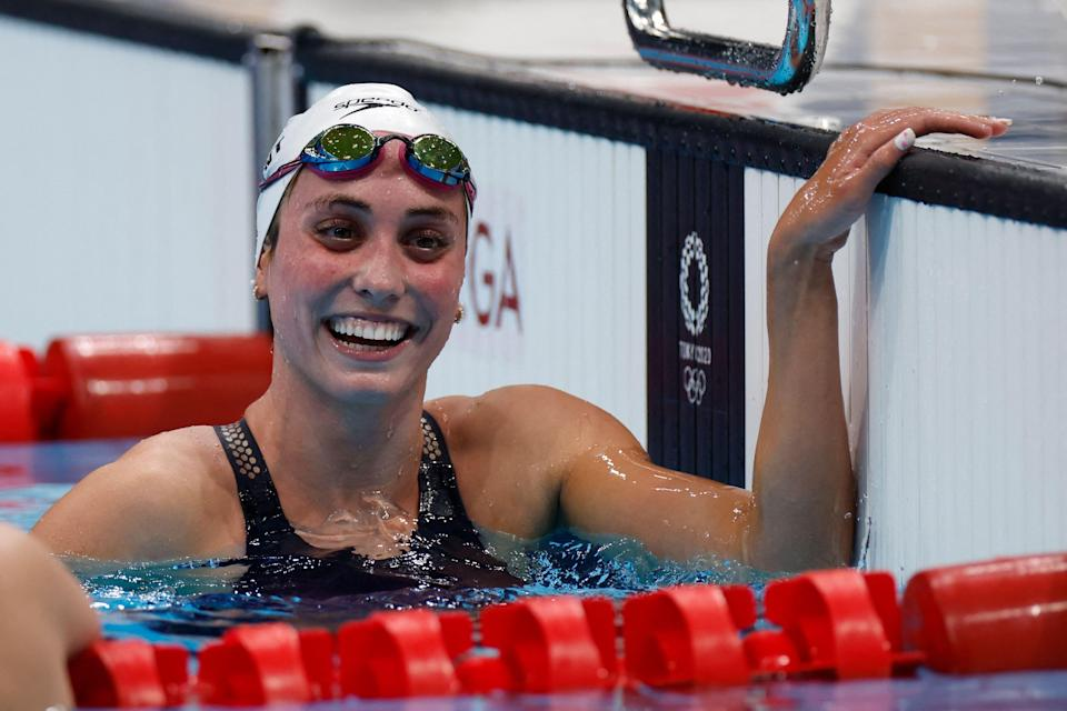 USA's Emma Weyant reacts after winning a heat for the women's 400m individual medley swimming event during the Tokyo 2020 Olympic Games at the Tokyo Aquatics Centre in Tokyo on July 24, 2021.