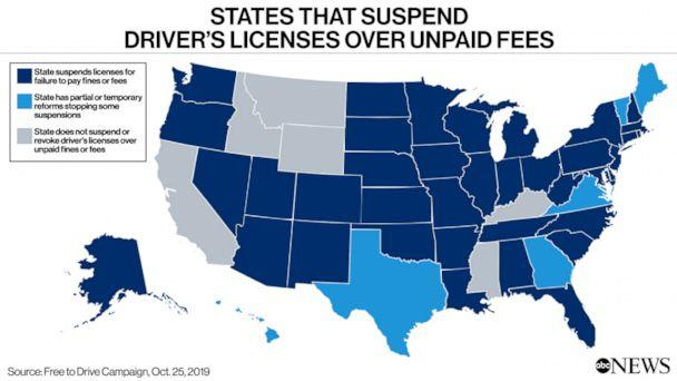 States that Suspend Driver's Licenses Over Unpaid Fees (ABC News Chart Illustration)