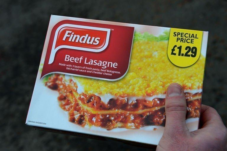 A man with a Findus beef lasagne frozen ready meal near Sunderland, England on February 8, 2013