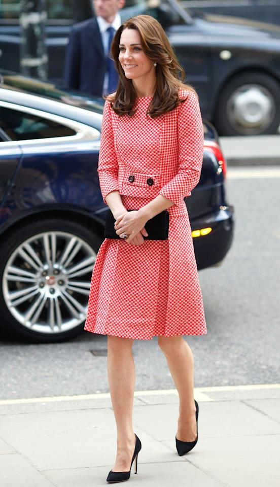 """<p>Wearing a red-and-white checkered gingham dress from <a href=""""http://www.eponinelondon.com/ss-16#/1113/"""" target=""""_blank"""">Eponine</a> during her visit to a mentoring program of the XLP Project. </p>"""