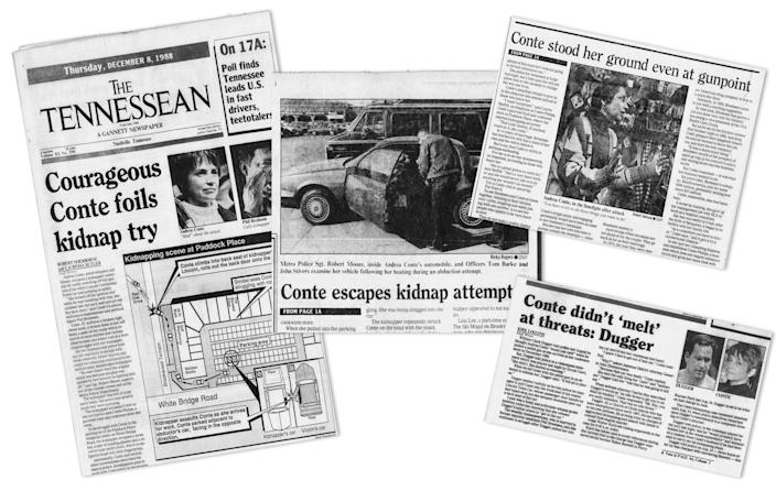 Headlines from the Tennessean about the 1988 attack.