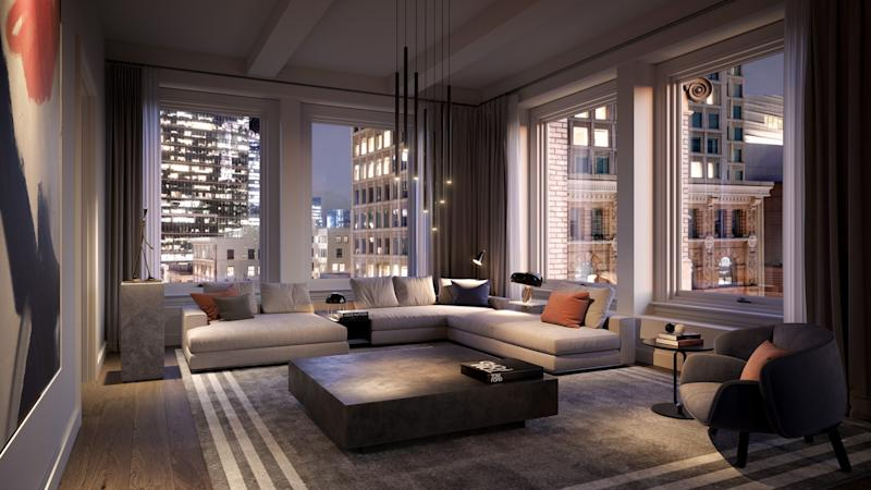 A rendering of a living room in one of the units in the new Four Seasons Residences in San Francisco.