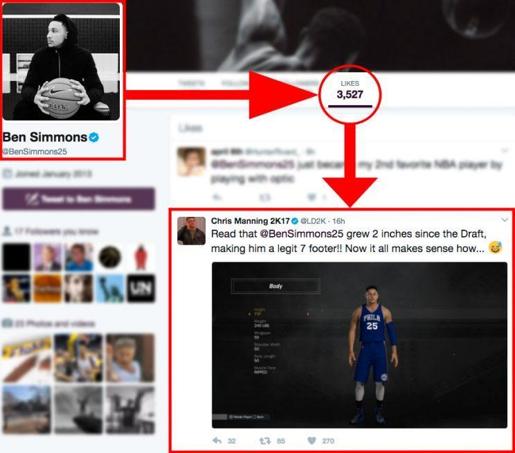 Ben Simmons is liking his new 7-foot listing on NBA2K. (Twitter)